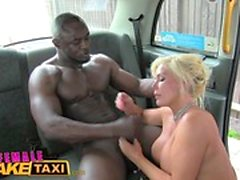Female Fake Taxi Big black cock makes cabbie cum