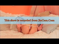 Skinny model shows striptease and mastubates