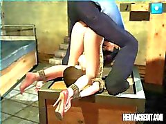 Geanimeerde BDSM met een jonge Aziatische chick gebonden en krijgen genageld