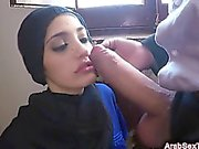 Sexy Arab girl sucks and rides cock