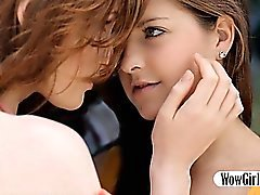 Two teens Rossy Bush and Dominique lesbian action outdoors