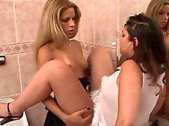 TS och tårta casual sex på en toalett
