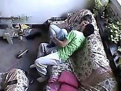 Couple fucks in the living room of house