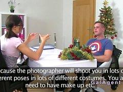 Female agent recording her hardcore interview