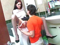 Russian couple anal sex in a bathroom