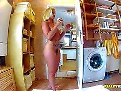 Bushy euro mom Kathia Nobili gives bj in the bathroom