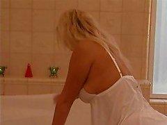 Hot German Blond Takes Two Dicks in Bathroom. DP