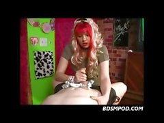 Naughty blonde female handjob dominatrix strokes his tool