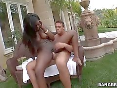 Tatiyana Foxx takes white dick in her black shaved pussy