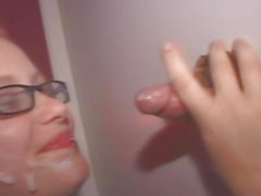 Blonde Emo In Glasses Taking Facial Cumshot Through Glory Hole