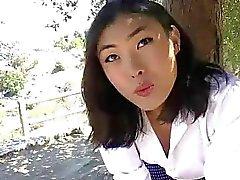 Excitada asiáticas TS Yuri Myeon brincavam bunda dela