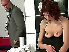 Cute redhead pissing and fucking a grandpa