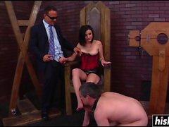 Hot busty slut dominates her husband