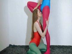 Hairy lesbians in nylon pants copulate