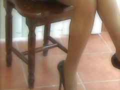 My legs in tan pantyhose