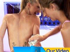 9 girl lesbian oil orgy intros & lubbing