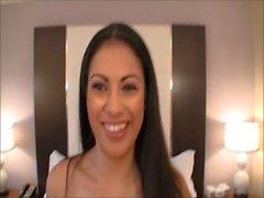 Busty young Latina amateur licks ass