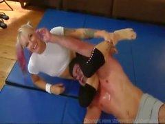 mixed wrestling blonde girl