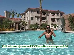 Alexa Loren sexy busty brunette woman getting naked and having fun in the pool