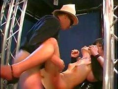 Latex Femdom BBW with skinny Slave Girl