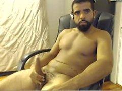 Uncut mature black dude jerks on cam