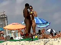 Sexy white girl dating black man on nude beach