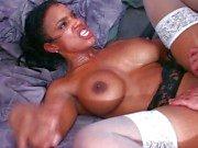 Ebony MILF white stockings pussy grind