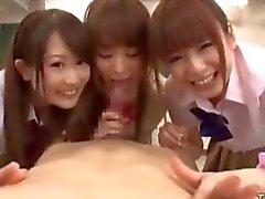 3 Asian Schoolgirls Jerking And Sucking in the classroom