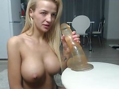 Czech blonde girl Kyra Hot flashes her big boobs for money