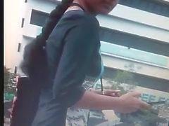 Indian Girl Boob Press in Public