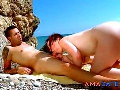 FKK-Strand - Hot Mature Fuck und CIM Facial