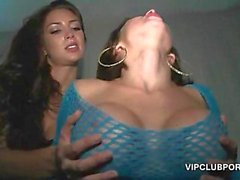 Nasty babes filled up with cock in the VIP