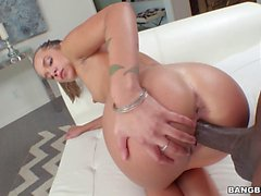 Perky tits babe railed by big black cock