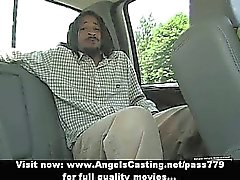Naughty brunette flashing tits and doing blowjob for afro guy in car