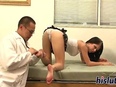 Foxy Tessa bites on her doctor dick