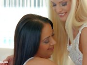 Passionate lesbian sex with Candee Licious and Nomi Melone on Sapphic Erotica