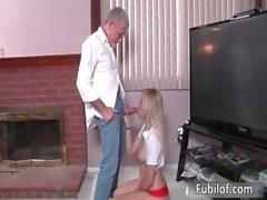 Homemade video of a teen amateur blonde