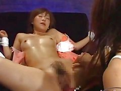 Asian Girl With Small Tits Tied To Armchair Getting Her Hairy Pussy Fucked With Fucksaw By Mistress