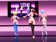 MMD Fukkireta R-18 Yuuka Kazami, Ran Yakumo and Cirno sexy dance