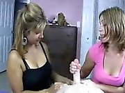 Young Guy Gets Stroked By Milf And Teen
