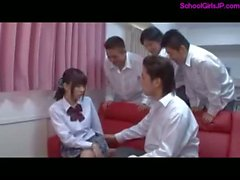 Schoolgirl Rapped Getting Her Nipples Sucked Pussy Fingered And Fucked By 3 Schoolguys On The Couch