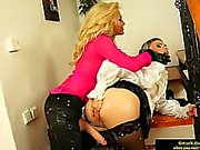 Bukkake babe gets strapon domination by hot lesbian