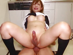 Oriental uniformed cleaner cockriding after bj