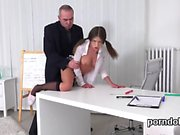 Elegant schoolgirl was seduced and drilled by her older scho