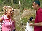 Two slutty blondes sharing huge boner
