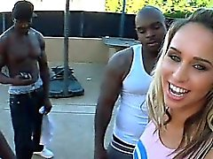 Blonde cheerleader taking black huge dicks in outdoor 4some