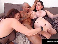 BBW cubana, Angelina Castro y Sara Jay son esclavos sumisos!