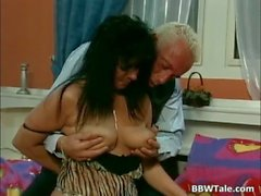 Horny mature woman with enormous boobs