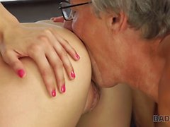 DADDY4K. Beauty finally gets chance to make love with BF old father