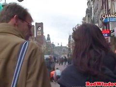 Preto cocksucking prostituta holandês antes de porra